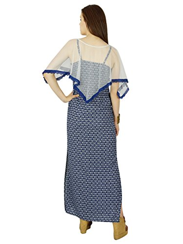 Bimba Longue Robe Maxi Bleu Des Femmes Robe Nette Poncho D'Été Avec Fente Latérale Bleu