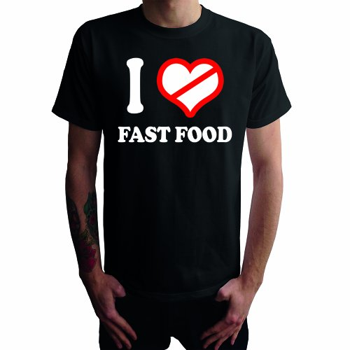 I don't love fast food Herren T-Shirt Schwarz