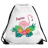 Eurofoto Turnbeutel mit Namen Jasmin und Tropischem Flamingo-Motiv für Mädchen | Sport-Beutel für Kinder | Gymbag