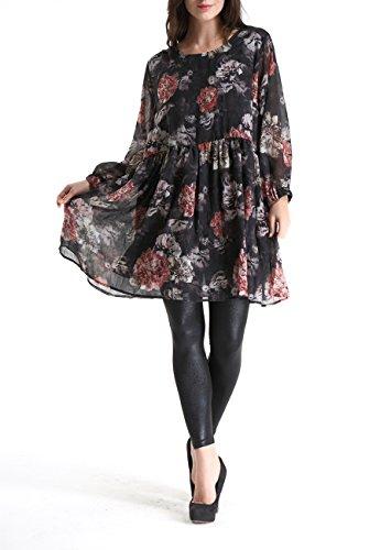 ELLAZHU Femme robe Mousseline Imprime fleur Taille Haut Taille unique GY270 Noir