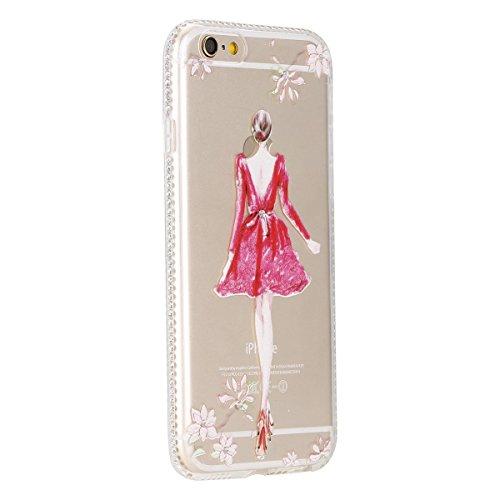 iPhone 6S Plus Hülle, iPhone 6 Plus Hülle, iPhone 6 / 6S Silikon 3D Transparent Case Hülle, SainCat Weiche Kratzfeste Silikon Girl-Serie Muster Hülle Schutzhülle mit Glitter Diamant TPU Bumper Soft Ge Rock Mädchen