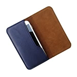 i-KitPit : PU Leather Flip Pouch Case Cover For Lava 405+ (NAVY BLUE)