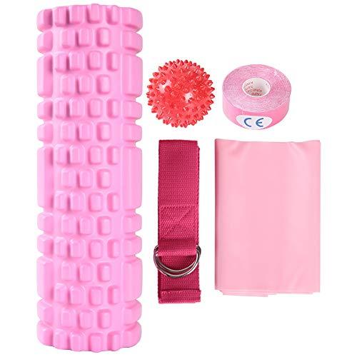 Massage-Fitness-Set 5 in 1, Schaumstoffrollen-Set Yoga-Rad Yoga-Block-Fitnessband für Stretching, Massageball und Widerstandsband, Bein-Bauch-Übungen für mehr Beweglichkeit(Pink)