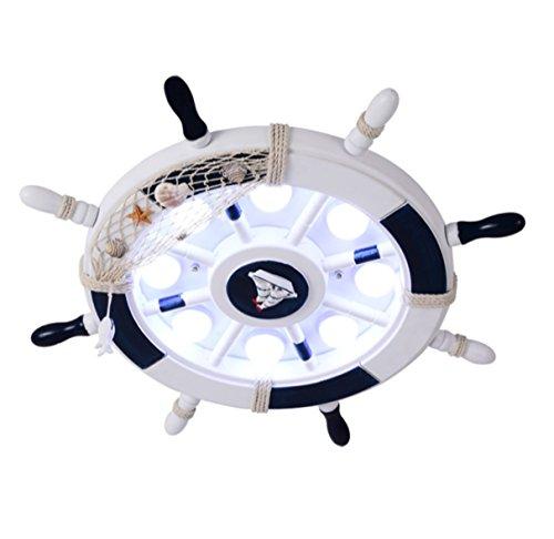 Deckenlampe Babylampe Kinder Mediterran Ruder Holz Rund Kinderzimmerlampe Deckenleuchte Modern Kinderlampe Kinderleuchte Decken Lampen Mit Led Cartoon Instyle Für Baby Junge Schlafzimmer (Weiß, Weißlicht ohne Fernbedienung 60CM)