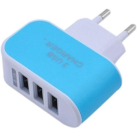 Susenstone 3.1A Triple puerto USB Adaptador cargador de viaje hogar de la pared de la CA para S6 enchufe de la UE ( azul)