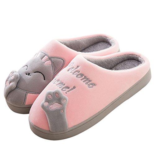 Plüsch-hausschuhe Katze (FANTURE Winter Baumwolle Pantoffeln Plüsch Wärme Weiche Hausschuhe Kuschelige Home Rutschfeste Slippers mit Cartoon für Herren Damen WZD006-Pink.grey-40/41)