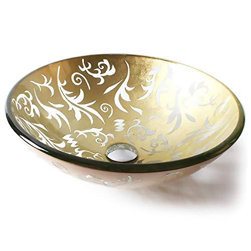 QJJML Glasspüle, runder handbemalter Gravur-Badezimmer-Design-Waschtisch im Retro-Stil