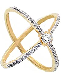 SKN Gold & Silver Gold Plated Solitaire Party American Diamond Cris Cross Ring For Women & Girls (SKN-1422)
