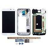 YHX-OU Für Samsung Galaxy S5 I9600 SM-G900 G900F LCD Display Touchscreen Ersatz Bildschirm mit Komplett Werkzeug (Nicht für G900H) (Weiß+ Rahmen)