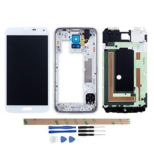 YHX-OU Für Samsung Galaxy S5 I9600 SM-G900 G900F LCD Display Touchscreen Ersatz Bildschirm mit Komplett Werkzeug (Nicht für G900H) (Weiß+ Rahmen) (S5-bildschirm Galaxy Schwarz)