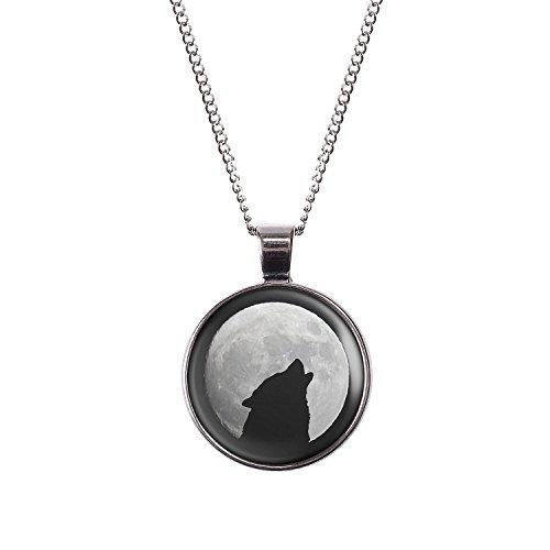 Mylery Hals-Kette mit Motiv Wolf Heult Mond Silhouette Sterne silber 28mm