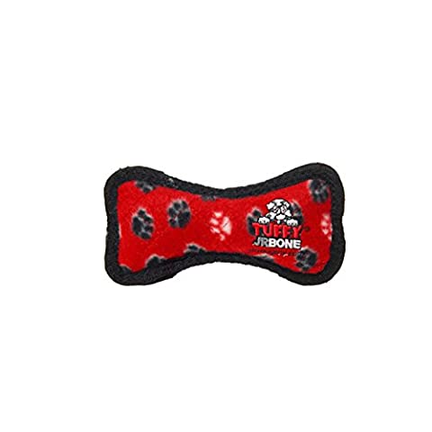 Tuffy's Junior Bone Paws Print Dog Toy, Red