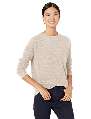 Goodthreads Wool Blend Thermal Stitch Crewneck Sweater pullover-sweaters, Pale Heather, M -