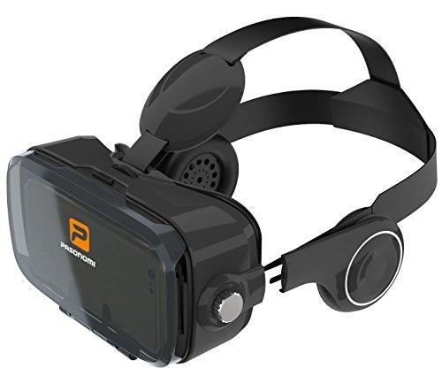 Pasonomi VR BOX 2017, Occhiali Realtà Virtuale con Stereo Cuffie e Auricolari per iPhone, Samsung, HTC, Sony, Google Android Smartphone da 4,0-6,2 pollici (2017 nuova versione)