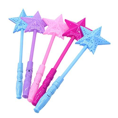 STOBOK Bacchette magiche Luminose LED Forma Stelle Bacchetta Fata per Principesse Bambini 5 Pezzi
