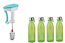 Sarangware Power Free Hand Blender For Egg & Cream Beater,Milkshake Lassi Maker With ABS Plastic Steel Cap Water Bottle 1100Ml, Set Of - 4(Color May be Very)