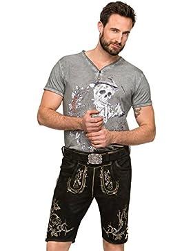 Stockerpoint Lederhose mit Gürtel Laurenz Schwarz gespeckt