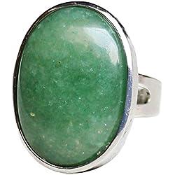 Baosity Anillo de Piedra Cristal Natural Oval Joyería para Mujer Muchacha - Verde