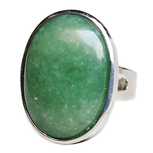 Baosity Anillo Piedra Cristal Natural Oval Joyería