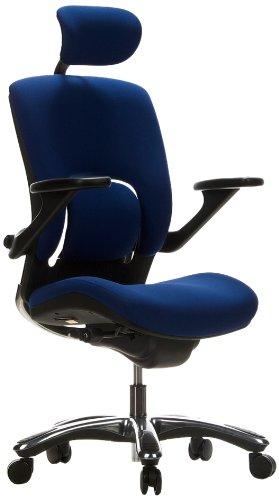 hjh OFFICE 652060 High End Bürostuhl VAPOR LUX Stoff Blau Ergonomischer Drehstuhl mit flexibler Lendenwirbelstütze