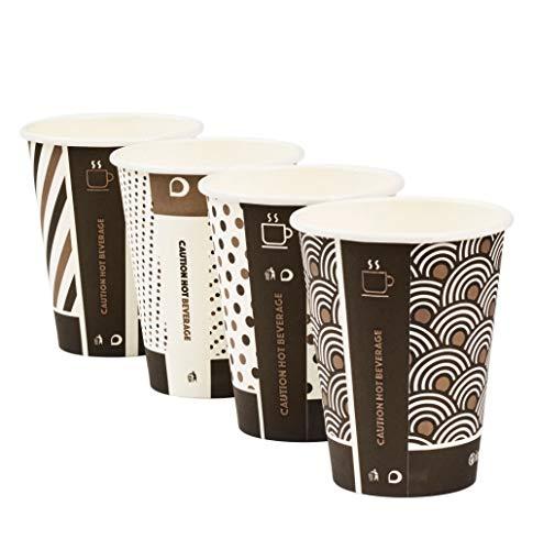 x 340 ml Ingeo Mixed-Design Bambus Becher einwandig kompostierbar biologisch abbaubar PLA beschichtet Tee Kaffee Espresso Heiße Getränke Tassen ()