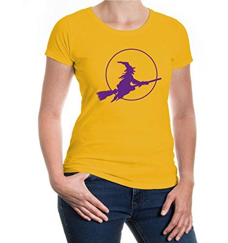 buXsbaum® Girlie T-Shirt Halloweenhexe Sunflower-Purple