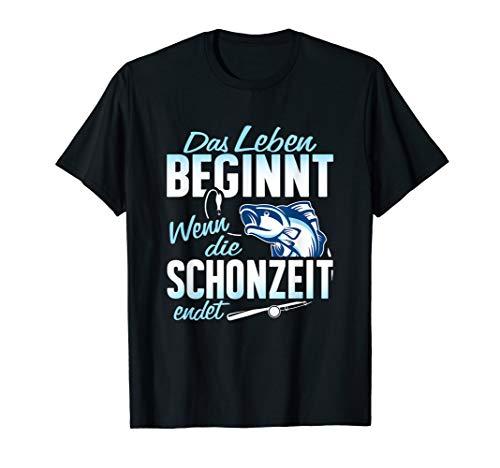 T-Shirt Angler - Fische angeln Schonzeit Angel Witz Spruch -
