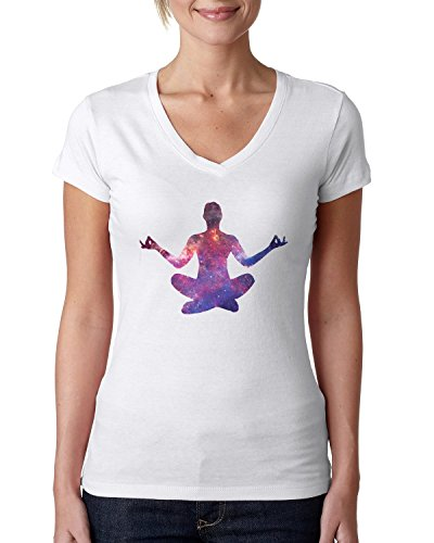 Yoga pose cosmic logo dope Women's V-Neck T-Shirt Large (Yoga-womens Tee)