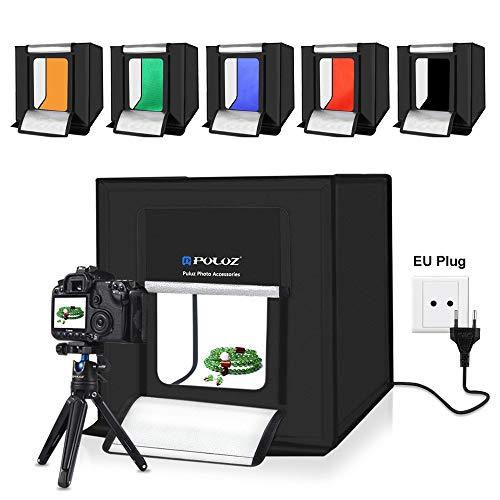 YAOkxin Tragbare Fotostudio Box 40 × 40 cm 2 x 32 Lampenperlen Weißes Licht einfache Faltstudio-Einstellung Fotofotografie Weich-Lichtkasten mit 6 farbigen Hintergrundbrett,EU