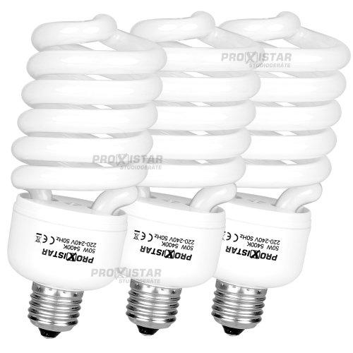 3 x proxistar Spiral-Tageslichtlampe 50W, 5400K - E27 - 50w Spiral