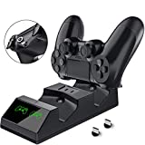 Opard PS4 Controller Ladestation, Playstation 4 Dualshock Ladestation mit 2 Micro USB Dongles, LED Anzeige geeignet für PS4 /PS4 Slim/PS4 Pro