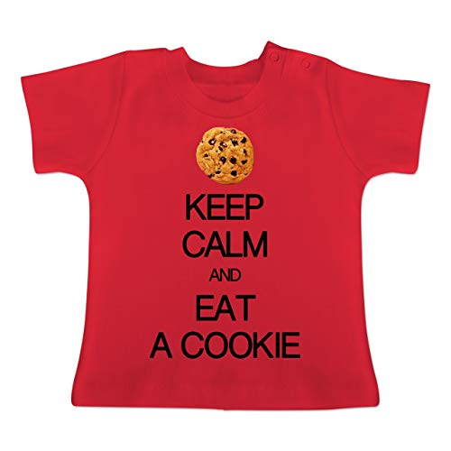 Girl Cookie Kostüm - Up to Date Baby - Keep Calm and eat a Cookie - 12-18 Monate - Rot - BZ02 - Baby T-Shirt Kurzarm