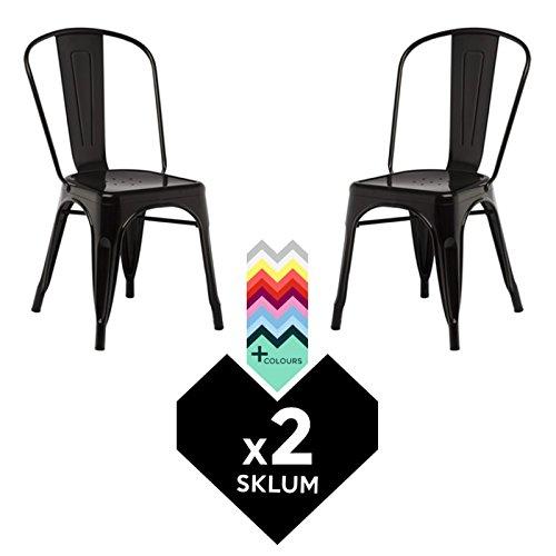 SKLUM SILLA TOLIX (Pack 2) - Silla Industrial Metálica Negro - (Elige Color)
