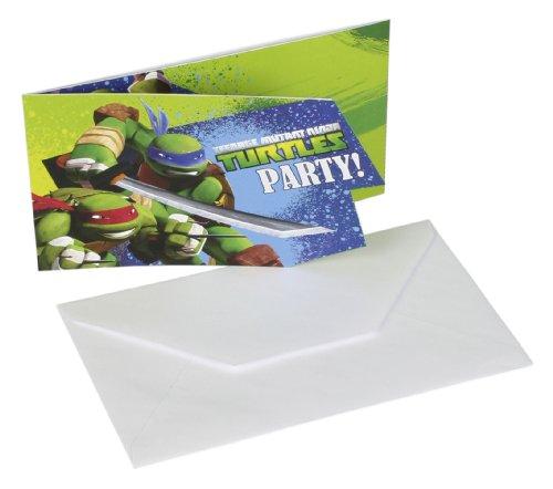12-teiliges Einladungen-Set * TEENAGE MUTANT NINJA TURTLES * mit 6 Einladungskarten und 6 Umschläge für Kindergeburtstag // Kinder Geburtstag Party Einladung Karten Jungs