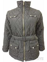 neue Damen plus size wattierte Jacken der Frauen Gürtel Steppmäntel