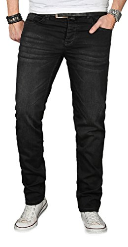 Designer Herren Jeans Hose Regular Slim Fit Jeanshose Basic Stretch [AS-056 - W32 L32] , Schwarz Effect (Angebote)