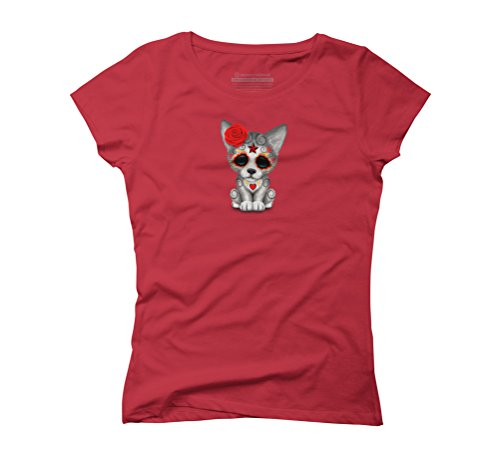 Red Day of the Dead Sugar Skull Wolf Cub Women's Graphic T-Shirt - Design By Humans Red