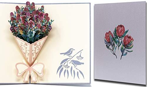 PopUp 3D Blumen Waratah Strauß Karte, Glückwunschkarte, Danksagungskarte, Muttertag karte, Valentinstag karte, Geburtstagskarte mit Vogel Muster in der Ecke