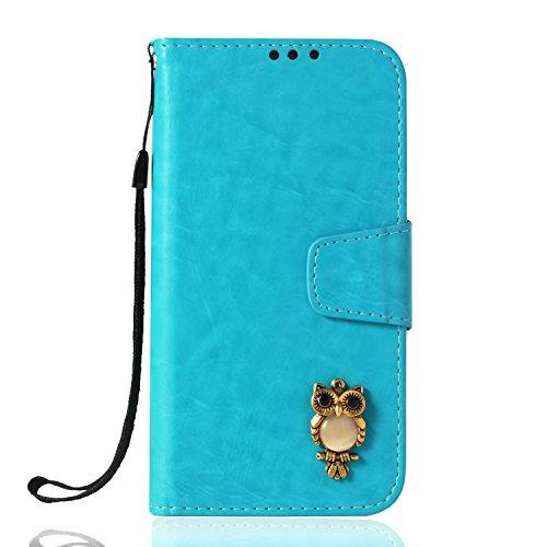 Lomogo LG V20 Hülle Leder, Schutzhülle Brieftasche mit Kartenfach Klappbar Magnetverschluss Stoßfest Kratzfest Handyhülle Case für LG V20 - LOYBO38381 Azurblau