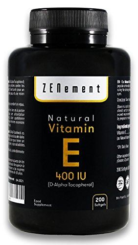 Vitamin E Natural 400 UI (D-Alpha-Tocopherol) | 200 pearls: Supply for more than 6 months | Antioxidant that protects cells from oxidative stress | No GMO | from Zenement
