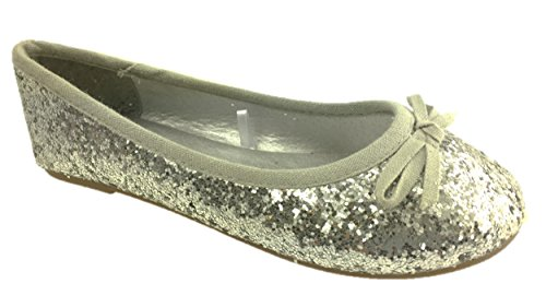 GIRLS SLIP ON GLITTER BALLERINA DOLLY PUMPS SHOES BOW DETAIL SIZE 10-2.5 (13, Silver)