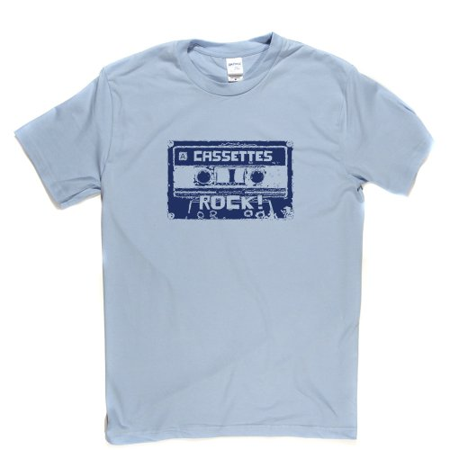 Cassettes Rock Old Skool School Hipster Retro Junkie T-shirt Himmelblau