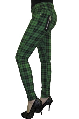 "Banned Apparel Check Skinny Jeans - Pantalones Vaqueros Verde Verde 30"""