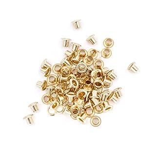 Wedding Decor 100Ösen mit Unterlegscheiben rostfrei Messing langer Zylinder für Vorhang Plane Leder-Arbeiten, metall, gold, 6 mm