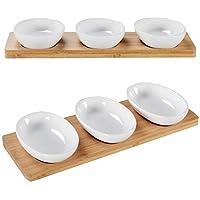 7 Teiliges Sossenset Porzellan Saucenschale Dipschalen Löffelchen Tablett Holz
