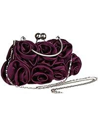Cadeau Noël Femme Pochette sac a main de soiree en satin fleur rose pour mariage multicolore 27 x 5 x 13 cm