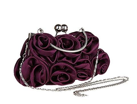 Heyjewels Mode Femme Pochette sac a main de soiree en satin fleur rose pour mariage violet