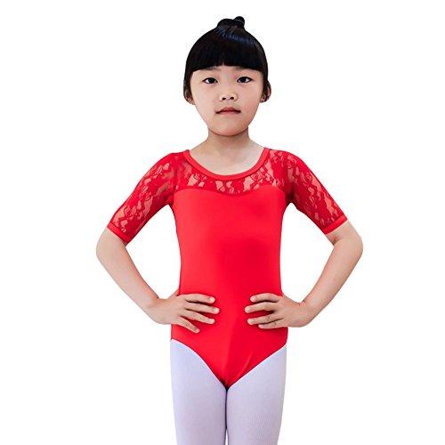 BOBORA Ragazze balletto danza Abito pizzo mezza manica Body Abbigliamento per bambini