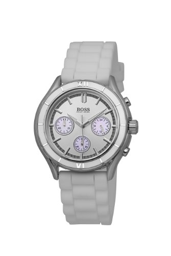 Hugo Boss Ladies Quartz Watch with Silver Dial Chronograph Display and White Silicone Strap 1502223