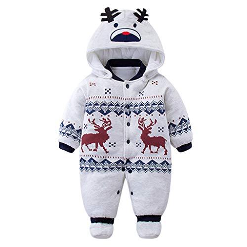 Baby Strampler Overall Winterjacke Onesie Unisex Cartoon Baby Strampelanzug mit Kapuze 3 Monate Vine Baby Winter Jacke